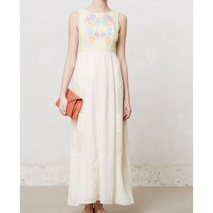 Champagne & Strawberry Neon Bloom Maxi Dress NWT